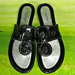 A Giannetti Black Patent Leather Sandals